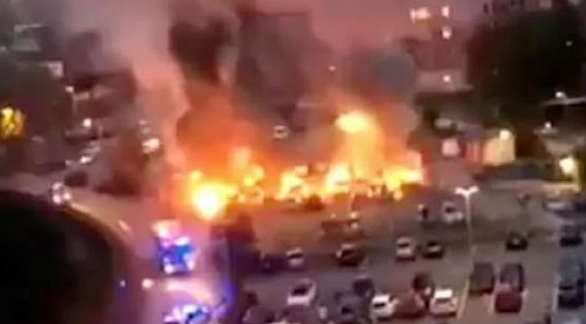 Siyah giyimli adamlar 80 araba yaktı