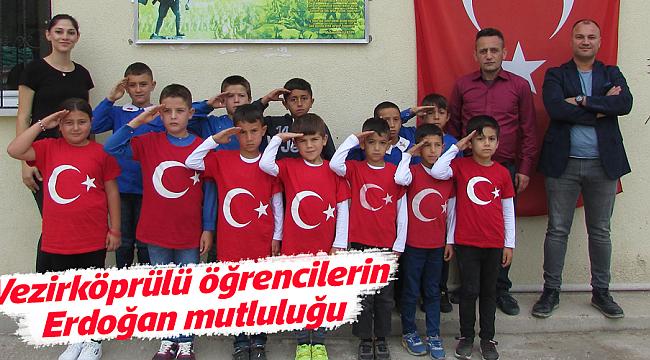 Vezirköprülü öğrencilerin  Erdoğan mutluluğu