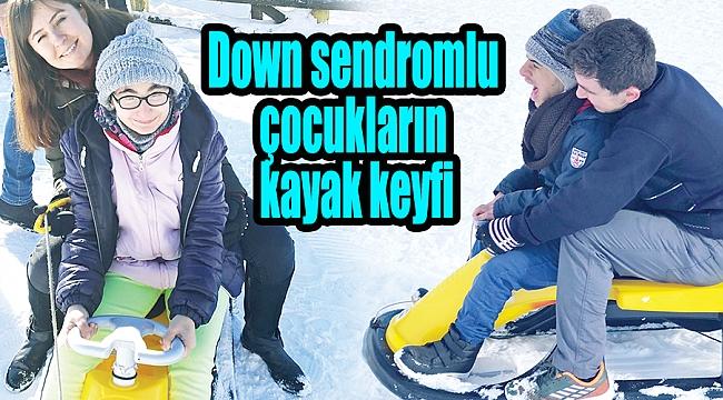 Down sendromlu çocukların kayak keyfi