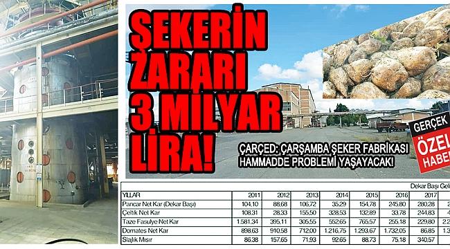 ŞEKERİN ZARARI3 MİLYAR LİRA!
