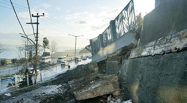 Akçaabat'ta inşaat duvarı çöktü