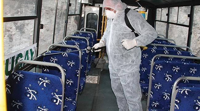 Belediye otobüsleridezenfekte edildi