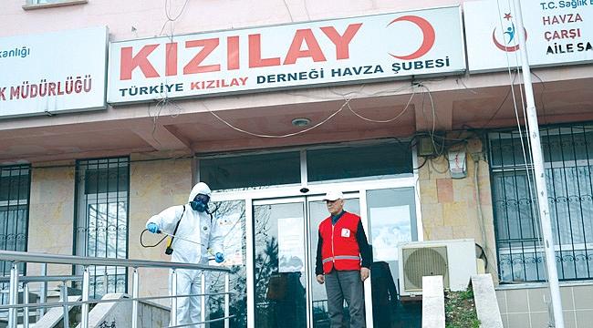 Kızılay binası dezenfekte edildi