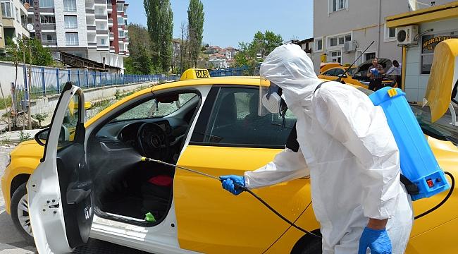 Havza'da taksiler dezenfekte edildi