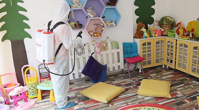 Kreş ve anaokulları dezenfekte edildi