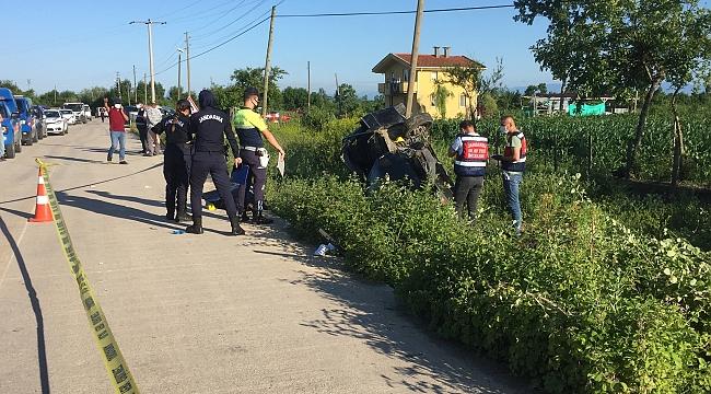 Çarşamba'da otomobil devrildi: 1 ölü, 3 yaralı