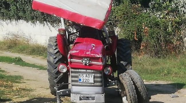 Devrilen traktörün sürücü yaralandı