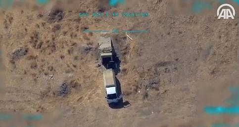 PKK/PYD-YPG'li teröristlere ait mühimmat ikmali yapan kamyonet böyle imha edildi