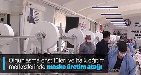 Olgunlaşma enstitüleri ve halk eğitim merkezlerinde maske üretim atağı