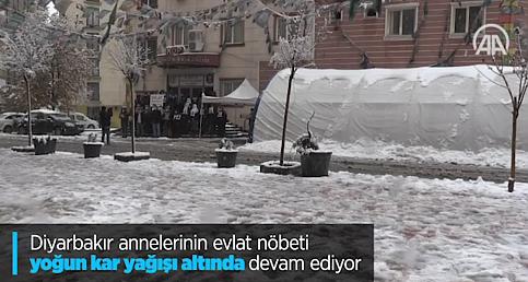 Diyarbakır annelerinin evlat nöbeti yoğun kar yağışı altında devam ediyor
